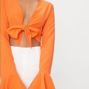 Tangerine Tie Bell Sleeve Blouse